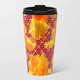 Golden Spring Iris Patterned Black  Decor Travel Mug