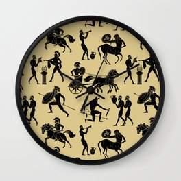 Greek Figures // Tan Wall Clock