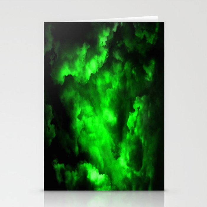 Envy - Abstract In Black And Neon Green Stationery Cards
