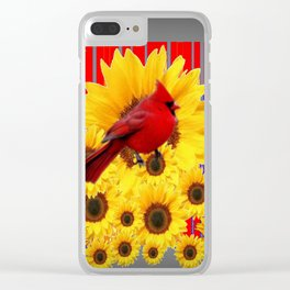 YELLOW SUNFLOWERS RED CARDINAL GREY  ART Clear iPhone Case