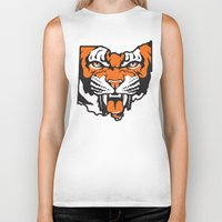 ohio state Biker Tanks featuring Ohio Bengal by Griggitees