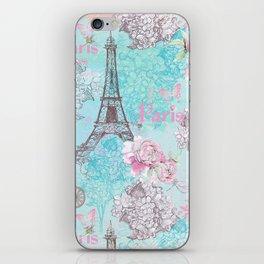 I love Paris-blue vintage illustration iPhone Skin