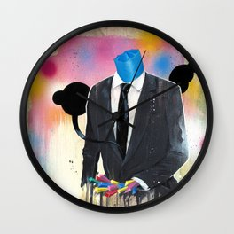 Plasticine man in a suit. Wall Clock