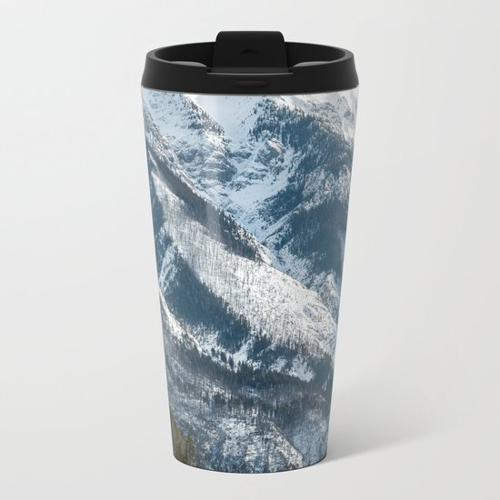 snow capped mountains Metal Travel Mug