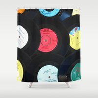 records Shower Curtains featuring Retro Vinyl Records by Phil Smyth