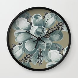 Spring Tulips Neutral  Wall Clock