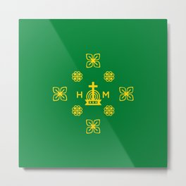 Affluence and God's Protection - Gold and Green Metal Print