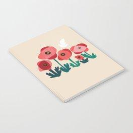 Poppy flowers and bird Notebook