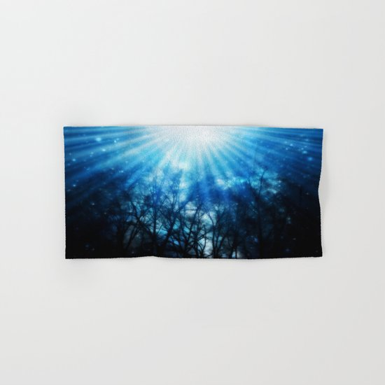 There Is Hope In the Light : Black Trees Blue Space Hand & Bath Towel