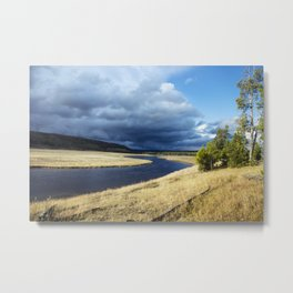 A storm brews above the Firehole River in Yellowstone National Park in northwestern Wyoming Metal Print