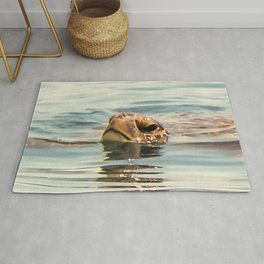 Head Above Water Loggerhead Turtle Rug