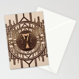 Art Deco Burlesque Characters - Number 7 Gold 7 Stationery Cards