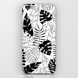 black and white tropical minimal leaves poster iPhone Skin