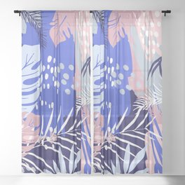 Abstract Tropical Summer Garden, Pink and Blue Sheer Curtain