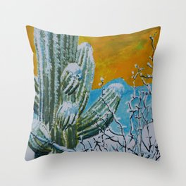 Snowy Desert Throw Pillow