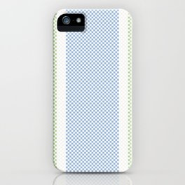 Rustic Farmhouse Checkerboard Pattern in Muted Blue Green Beige iPhone Case