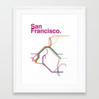 san francisco map Framed Art Prints featuring San Francisco Transit Map by Ariel Wilson