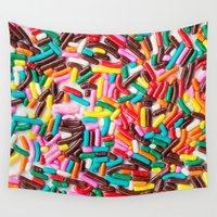 sprinkles Wall Tapestries featuring Extra Sprinkles  by Laura Ruth