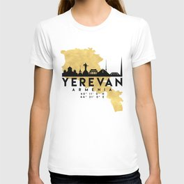 YEREVAN ARMENIA SILHOUETTE SKYLINE MAP ART T-shirt