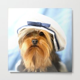 Little Sailor Yorkshireterrier With Sailor Hat #decor #society6 Metal Print