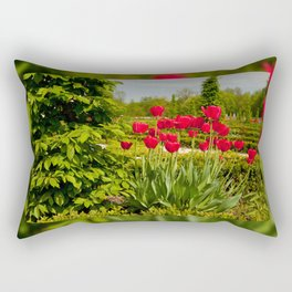 elm and red tulips arranged Rectangular Pillow