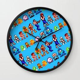 8-bit legendary heroes | blue | vintage retrogaming nostalgia Wall Clock