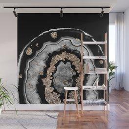 Gray Black White Agate with Gold Glitter on Black #1 #gem #decor #art #society6 Wall Mural