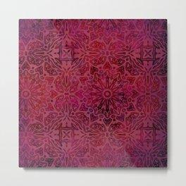 Retro Red textured oriental pattern Metal Print