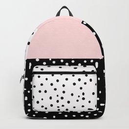 Pink white black watercolor polka dots Backpack
