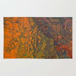 Dirty Acrylic Pour Painting 16, Fluid Art Reproduction Abstract Artwork Rug