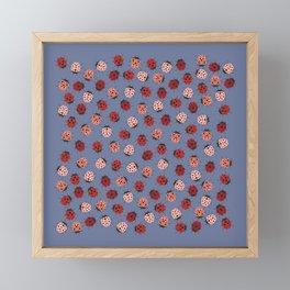 All over Modern Ladybug on Plum Background Framed Mini Art Print