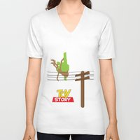 toy story V-neck T-shirts featuring Toy Story - Falling With Style by Gary Wood