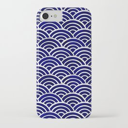 Japanese Seigaiha Wave – Navy Palette iPhone Case