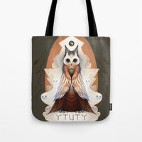 lord of the ring Tote Bags featuring Ytuty Lord of Owls by Mark Facey