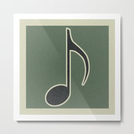 eighth note green Metal Print
