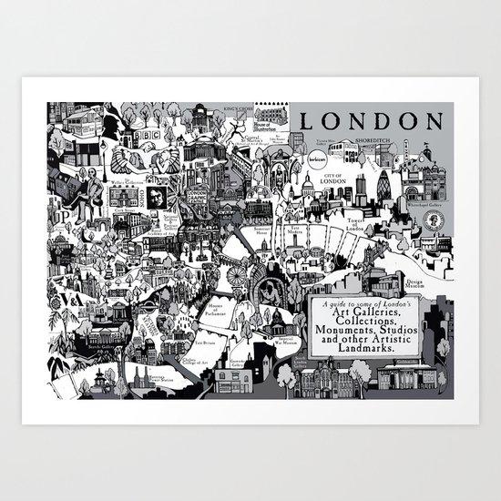 Map of London Art Landmarks Art Print