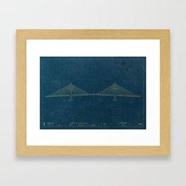 Tilikum Crossing — Blueprint Framed Art Print