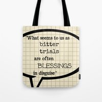oscar wilde Tote Bags featuring Oscar Wilde Thought Quote by Allyson