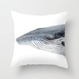 Humpback whale portrait Throw Pillow