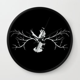 Jackdaw (white on black) Wall Clock