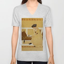 "C Coles Phillips 'Fadeaway Girl' ""Discarding From Strength"" Unisex V-Neck"