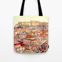 takmaj Tote Bags featuring Athens by takmaj
