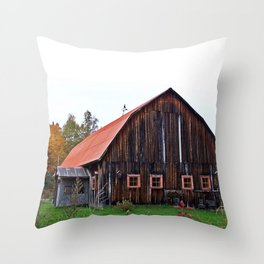 Orange Barn Throw Pillow