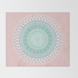 Dusky Pink Green Mandala Throw Blanket