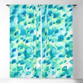 Blue, Green and Aqua Abstract Watercolor Painted Spots Blackout Curtain
