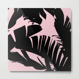 Unique Black and Pink Tropical Banana Leaves Pattern Metal Print