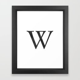 Letter W Initial Monogram Black and White Framed Art Print