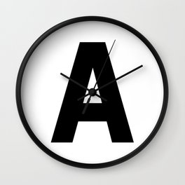 Letter A (Black & White) Wall Clock