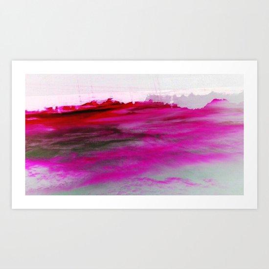 Purple Clouds Red Mountain Art Print