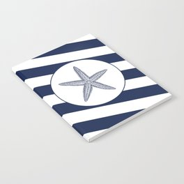 Nautical Starfish Navy Blue & White Stripes Beach Notebook
